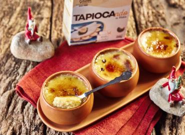 Crème brûlée cremoso de tapioca para o Natal