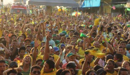 Transmissão do jogo do Brasil no Centro Histórico