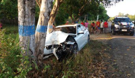 Carro de luxo colide em árvore e motorista foge correndo