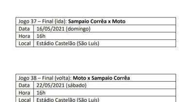 FMF confirma datas e horários das finais entre Moto Club e Sampaio Corrêa