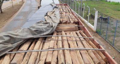 Carregamento de madeira irregular é apreendido na BR-010 no Maranhão