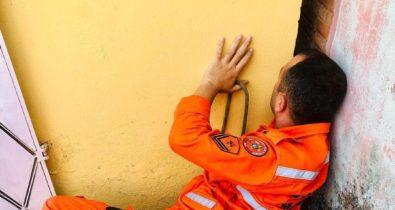 Cachorra fica presa entre paredes em Santa Inês