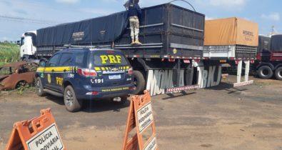 PRF realiza apreensão de madeira ilegal na BR-010