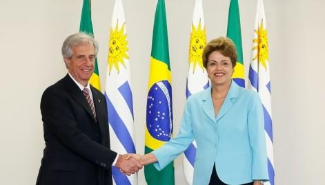 Dilma e o presidente do Uruguai, Tabaré Vázquez