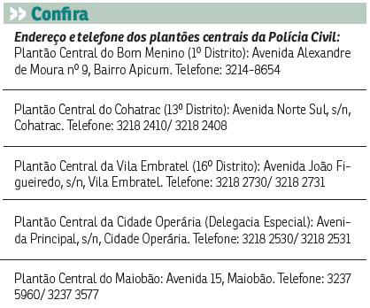 Tabela com contatos plantões centrais de Polícia Civil
